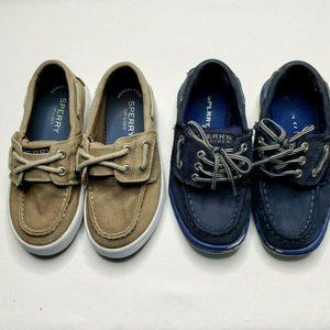 2 Pair Sperry Top Siders Tan Canvas Blue Leather